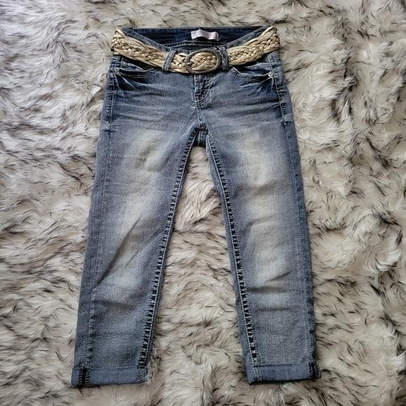 Blue capris with belt